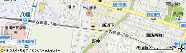 愛知県豊川市市田町(新道下)周辺の地図