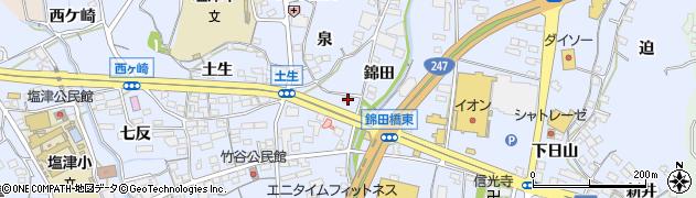 愛知県蒲郡市竹谷町(錦田)周辺の地図