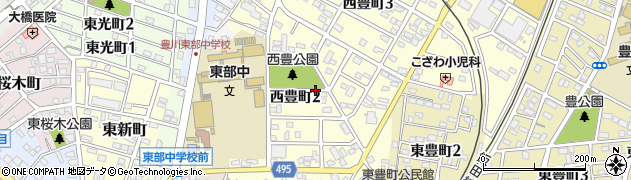 愛知県豊川市西豊町周辺の地図