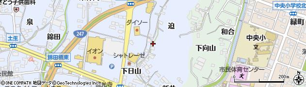 愛知県蒲郡市竹谷町(迫)周辺の地図