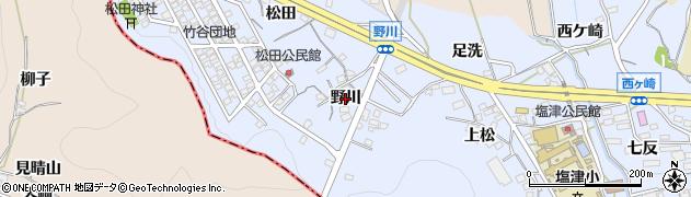 愛知県蒲郡市竹谷町(野川)周辺の地図