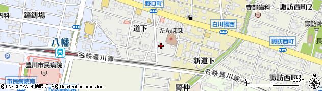 愛知県豊川市野口町(道下)周辺の地図