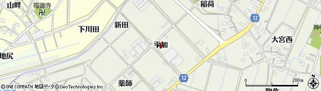 愛知県西尾市市子町(平加)周辺の地図
