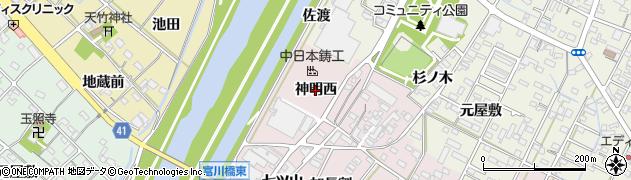 愛知県西尾市吉良町下横須賀(神明西)周辺の地図