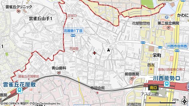 〒666-0035 兵庫県川西市花屋敷の地図