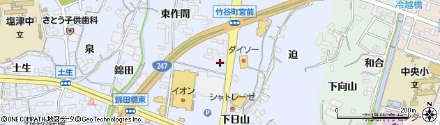 愛知県蒲郡市竹谷町(中野)周辺の地図