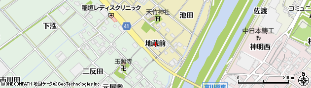 愛知県西尾市天竹町(地蔵前)周辺の地図