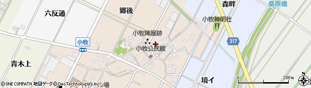 愛知県西尾市吉良町小牧(郷中)周辺の地図