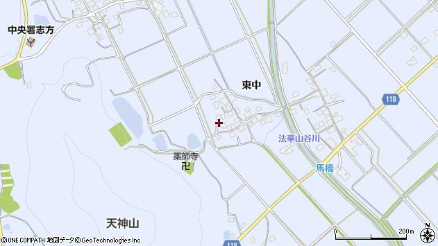 〒675-0306 兵庫県加古川市志方町東中の地図