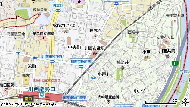 〒666-0000 兵庫県川西市(以下に掲載がない場合)の地図