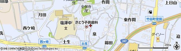 愛知県蒲郡市竹谷町(泉)周辺の地図