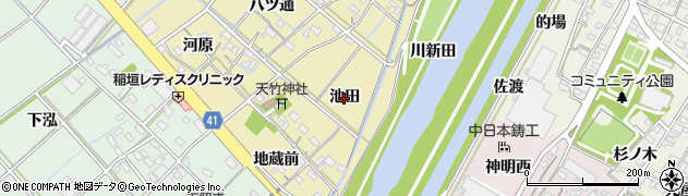 愛知県西尾市天竹町(池田)周辺の地図