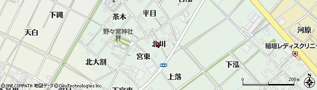 愛知県西尾市野々宮町(北川)周辺の地図