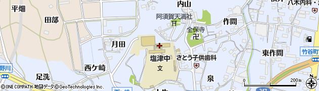 愛知県蒲郡市竹谷町(上ノ山)周辺の地図