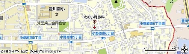 大阪府箕面市小野原東周辺の地図