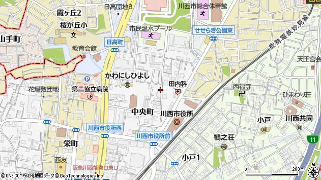 〒666-0016 兵庫県川西市中央町の地図