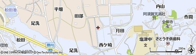 愛知県蒲郡市西迫町(田部)周辺の地図