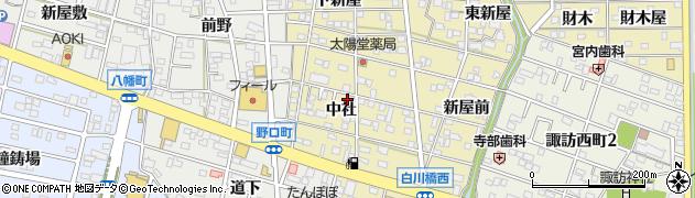 愛知県豊川市市田町(中社)周辺の地図