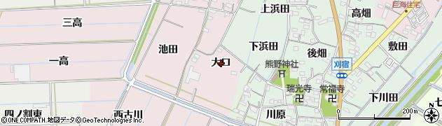 愛知県西尾市巨海町(大口)周辺の地図