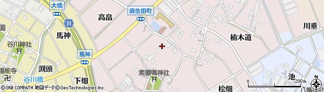 愛知県豊川市麻生田町周辺の地図