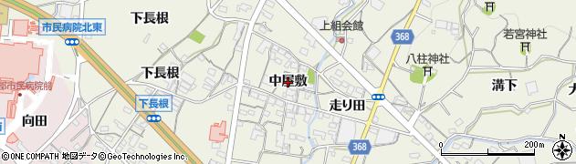 愛知県蒲郡市豊岡町(中屋敷)周辺の地図