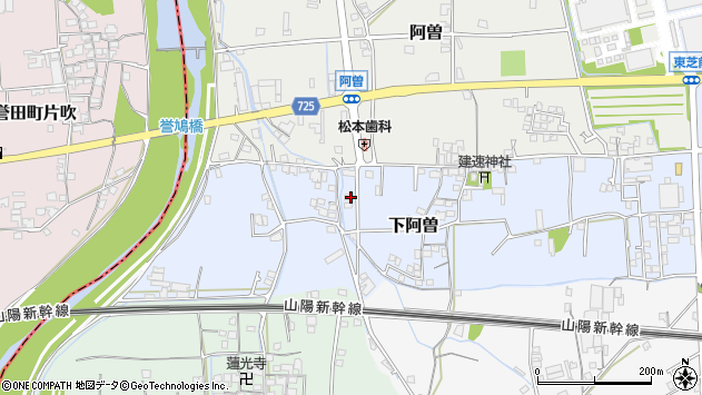 〒671-1552 兵庫県揖保郡太子町下阿曽の地図