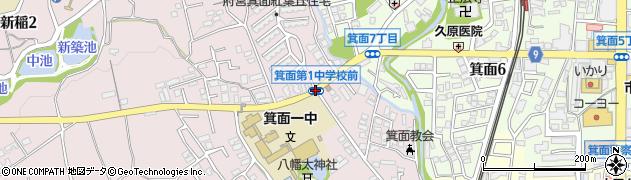 箕面第一中前周辺の地図