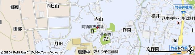 愛知県蒲郡市竹谷町(内山)周辺の地図