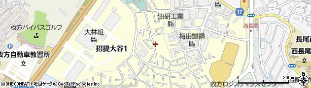 大阪府枚方市招提大谷周辺の地図
