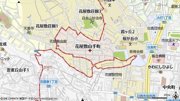〒666-0036 兵庫県川西市花屋敷山手町の地図