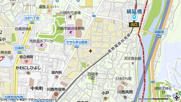 〒666-0013 兵庫県川西市美園町の地図