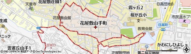 兵庫県川西市花屋敷山手町周辺の地図
