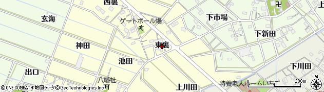 愛知県西尾市下道目記町(東裏)周辺の地図