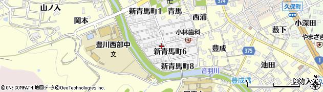 愛知県豊川市新青馬町周辺の地図