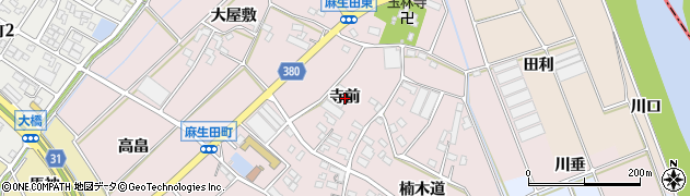 愛知県豊川市麻生田町(寺前)周辺の地図
