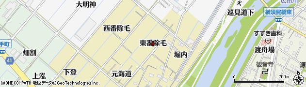愛知県西尾市天竹町(東番除毛)周辺の地図