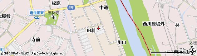愛知県豊川市向河原町(田利)周辺の地図