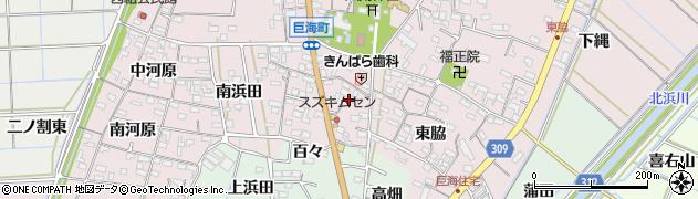 愛知県西尾市巨海町(宮前)周辺の地図