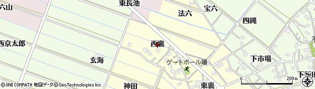 愛知県西尾市下道目記町(西裏)周辺の地図