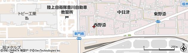 愛知県豊川市本野町(西野添)周辺の地図