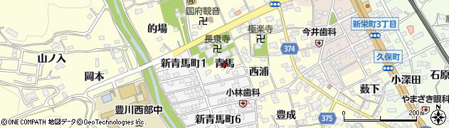愛知県豊川市国府町(青馬)周辺の地図