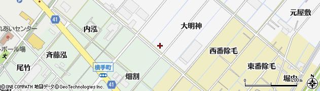 愛知県西尾市鎌谷町(大島)周辺の地図