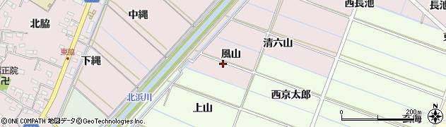愛知県西尾市針曽根町(風山)周辺の地図