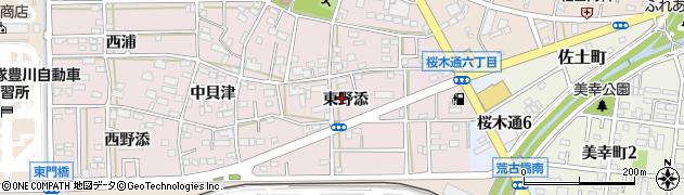 愛知県豊川市本野町(東野添)周辺の地図