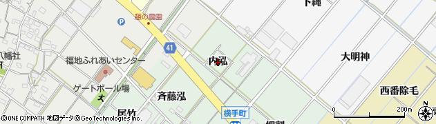 愛知県西尾市横手町(内泓)周辺の地図