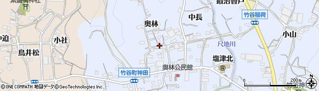 愛知県蒲郡市竹谷町(奥林)周辺の地図