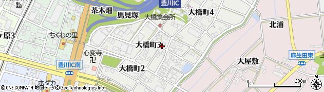 愛知県豊川市大橋町周辺の地図