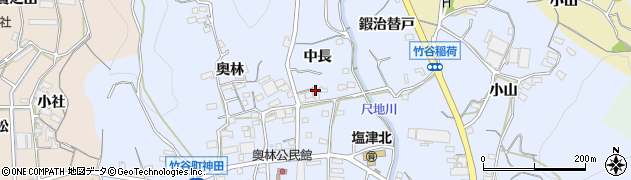 愛知県蒲郡市竹谷町(中長)周辺の地図