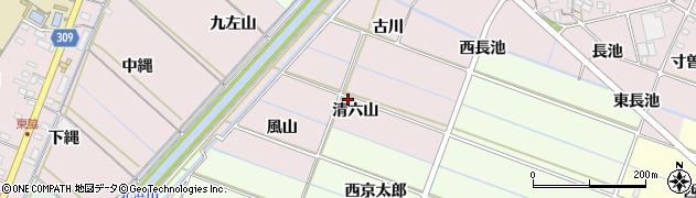 愛知県西尾市針曽根町(清六山)周辺の地図
