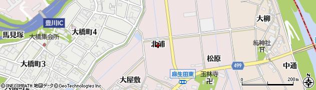 愛知県豊川市麻生田町(北浦)周辺の地図